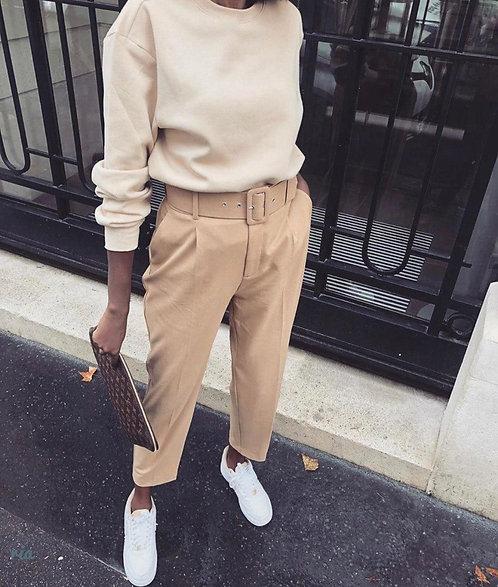 Классические брюки с широким ремнем фото