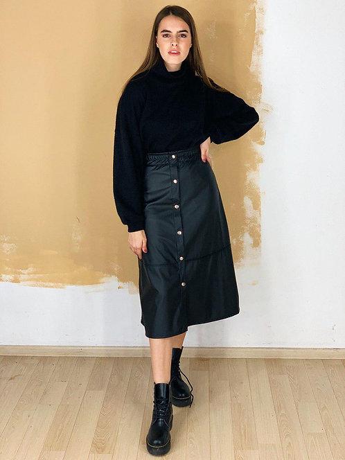 Черная кожаная черная юбка миди с кнопками фото
