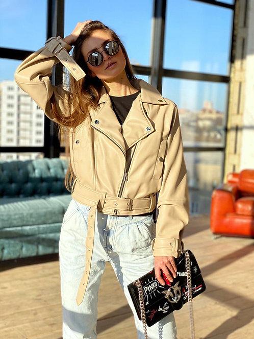 Кожаная куртка косуха oversize цвета слоновой кости фото