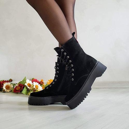 Черные женские ботинки на шнурках натуральная замша фото