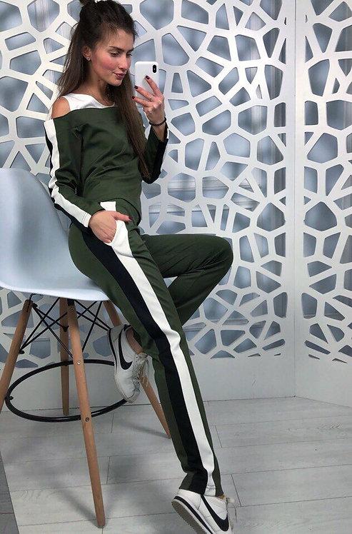 Стильный спортивный костюм с лампасами и вырезами на плечах ТМ DIMITRA