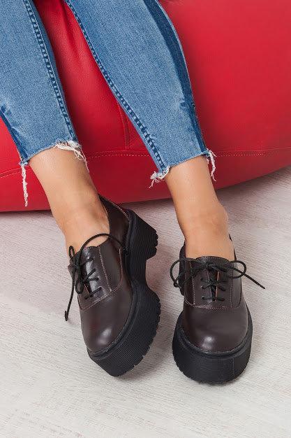 Натуральные кожаные шоколадные туфли броги на платформе TM BONA