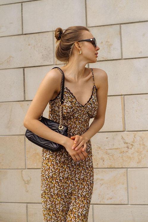 Платье комбинация миди в мелкий цветочек фото
