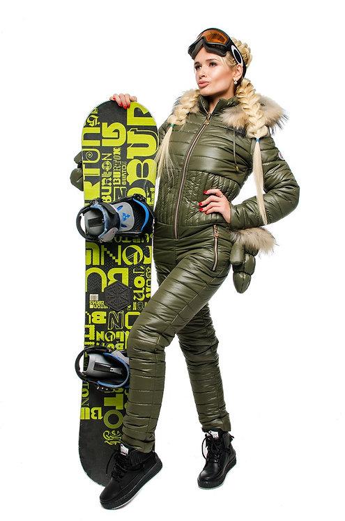 Зимний лыжный комбинезон с варежками цвета хаки фото