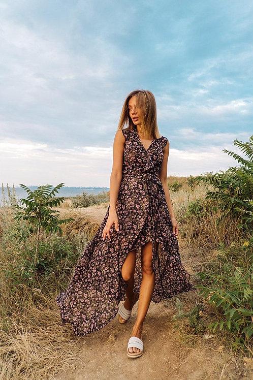Длинное асимметричное цветочное платье фото