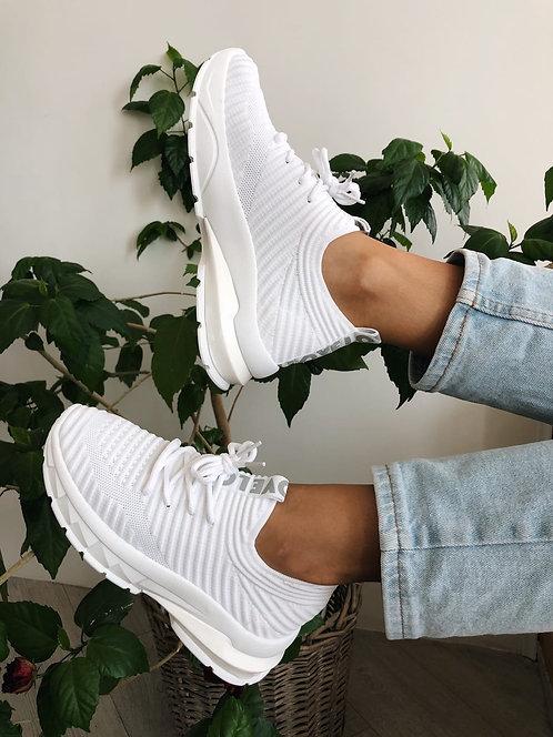 Белые рифленые текстильные кроссовки Италия фото