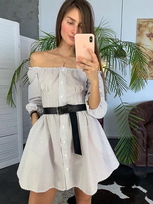 Коттоновое платье-крестьянка в горошек фото