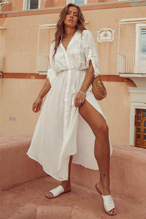 Белая длинная пляжная туника-рубашка с поясом фото