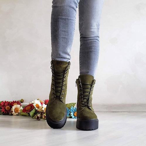 женские ботинки хаки на шнурках натуральная замша фото