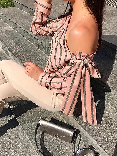 Блузка женская в полоску с открытым плечом фото