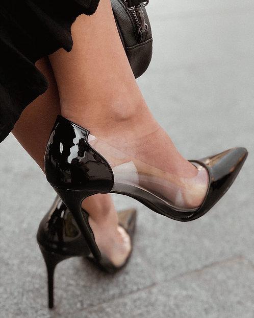 Черные туфли лодочки с прозрачными вставками Италия фото