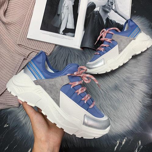 женские голубые кроссовки с розовыми шнурками фото