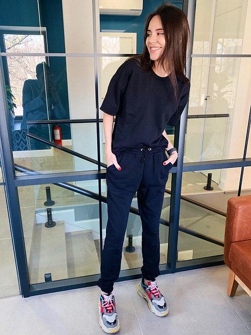 Черный коттоновый спортивный костюм с футболкой TM ZEFFIR