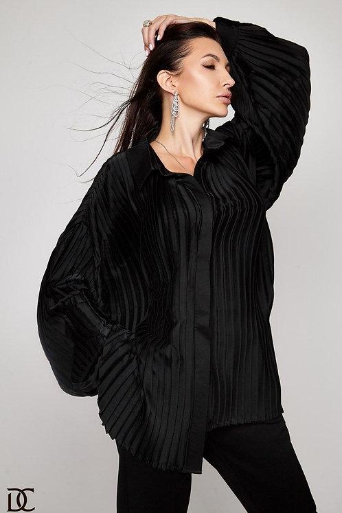 Шелковая черная плиссированная блузка фото