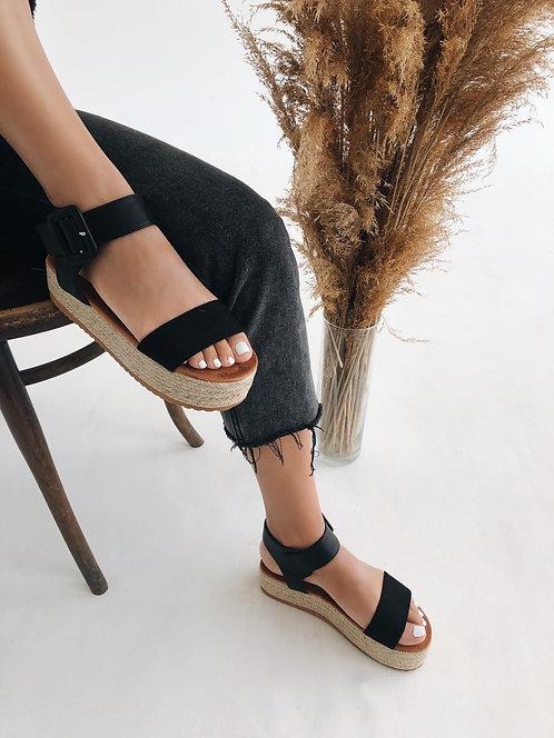 Черные замшевые сандалии эспадрильи на плетеной платформе Италия фото