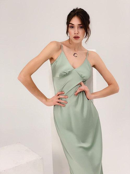 Мятное шелковое платье комбинация миди фото