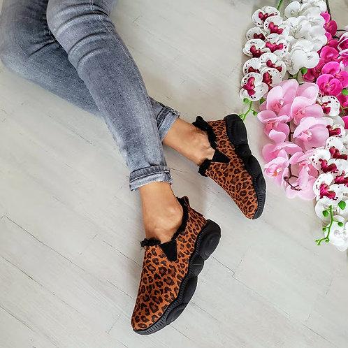 Леопардовые коричневые натуральные слипоны Teddy