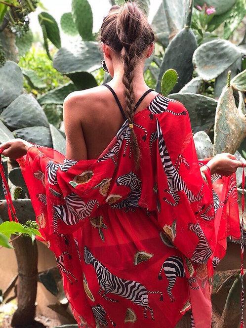 Красная шифоновая пляжная накидка-туника с зебрами фото