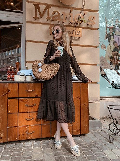 Черное платье-двойка миди в фактурную точку фото