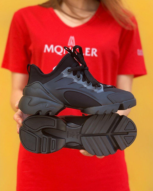 Черные кроссовки Christian Dior D-connect Sneaker Black Neoprene фото
