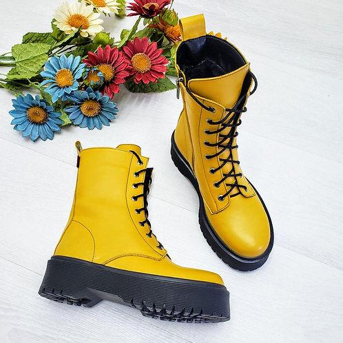 Желтые ботинки на шнурках натуральная кожа фото