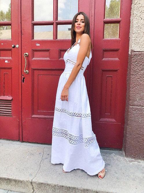 Роскошное белое льняное платье в пол с кружевом