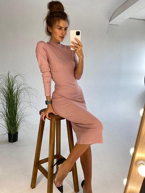 Обтягивающее платье миди в рубчик с косточками фото