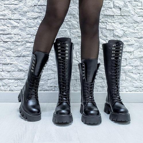 Черные высокие ботинки на шнуровке натуральная кожа фото