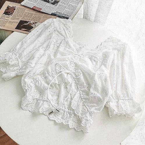 Белый хлопковый кроп-топ с вышивкой фото