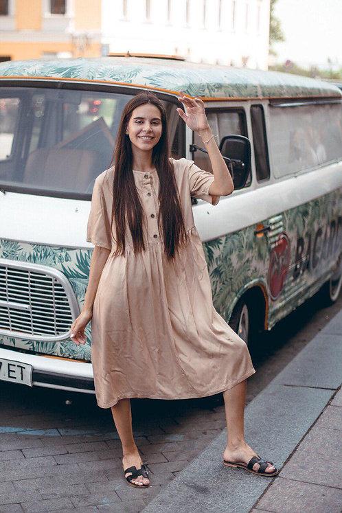 Бежевое хлопковое платье миди oversize с пуговицами фото