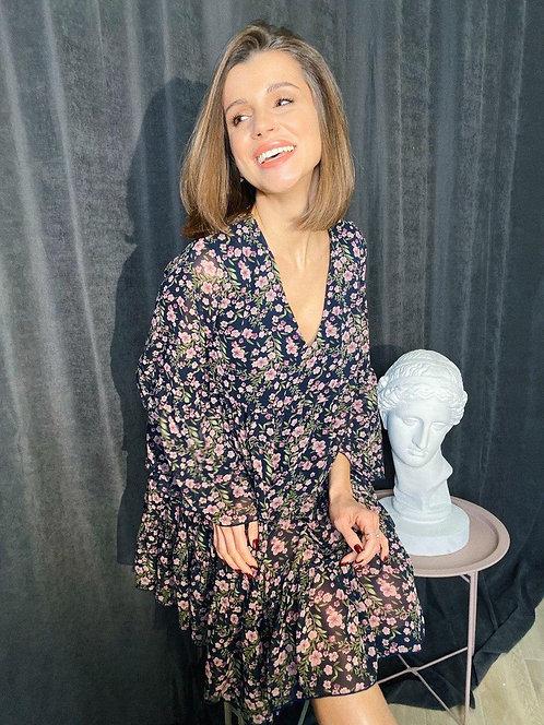 Синее воздушное платье в мелкий цветочек фото