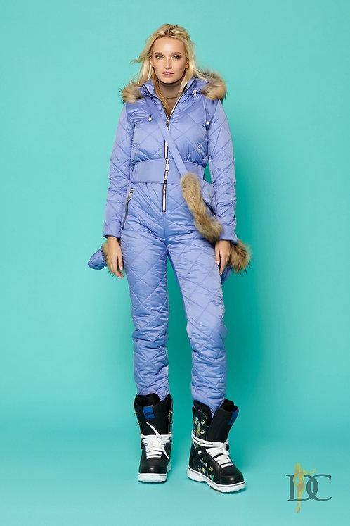 Голубой лыжный комплект: комбинезон, варежки и сумка фото