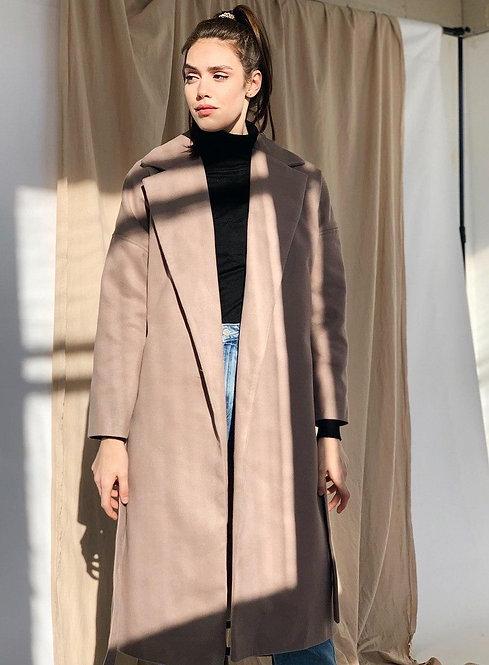 Кашемировое пальто миди на запах с поясом цвета тауп фото