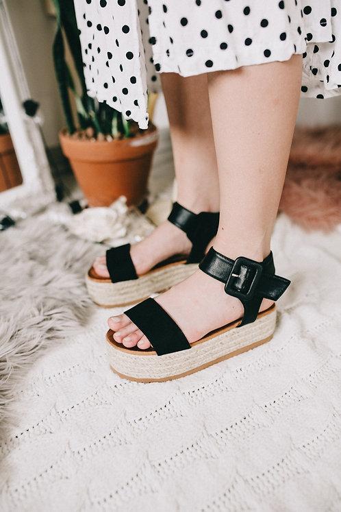 Черные сандалии эспадрильи на плетеной платформе Италия