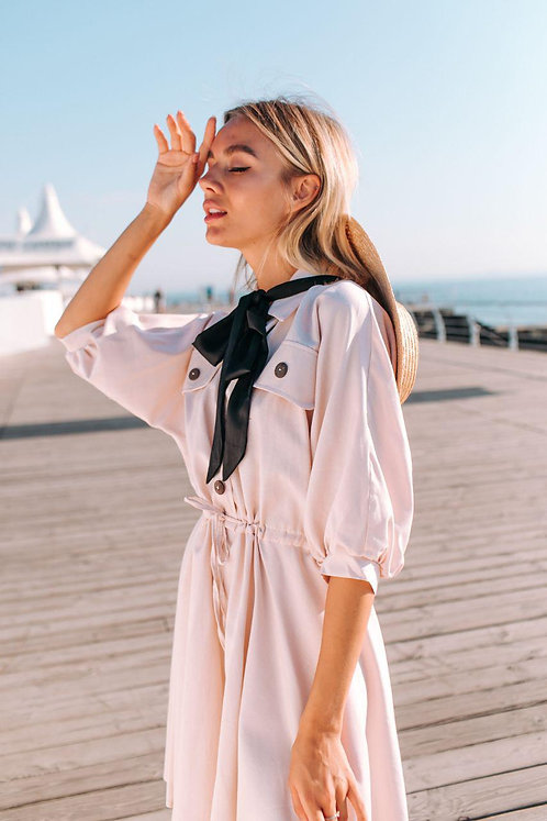 Кремовое коттоновое платье с неполным рукавом и юбкой фото солнце