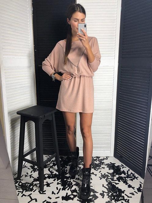 Мягкое ангоровое платье со змейкой фото