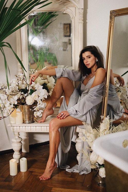 Шелковый комплект: платье в пол и кардиган фото