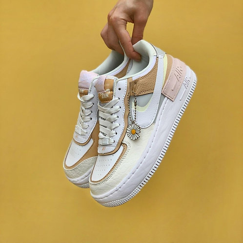 Белые кроссовки Nike Air Force 1 Shadow Grey White Brown фото