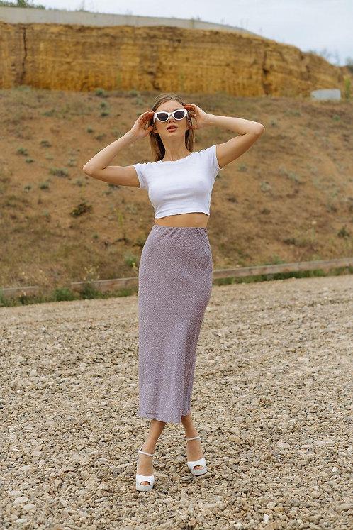 Пыльно-розовая юбка миди в мелкий горошек фото