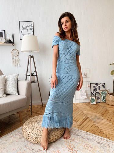 97f009626e3 ... Вязаное хлопковое ажурное длинное платье с бахромой TM Estilo Diani
