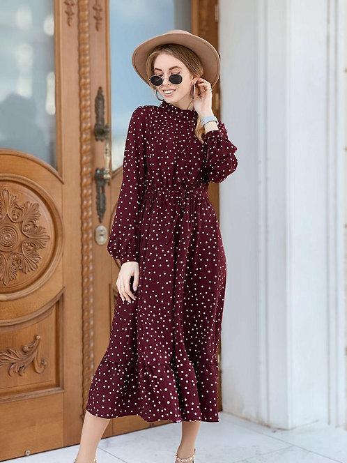 Бордовое платье миди в горошек из вискозы фото
