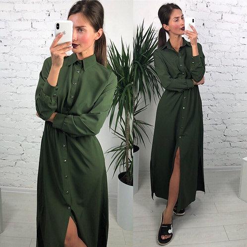 Длинное платье-рубашка на пуговицах фото