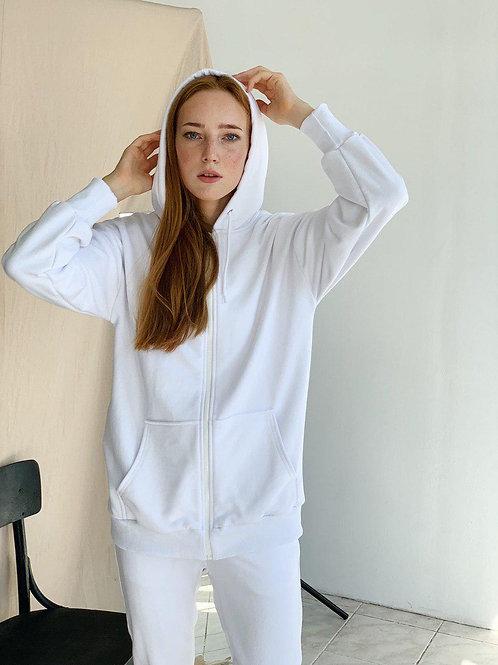 Белый спортивный костюм с кофтой на молнии