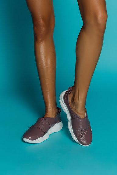 Сиреневые натуральные кожаные слипоны на модной подошве TM BONA