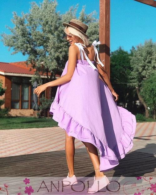 Сиреневое хлопковое пышное асимметричное платье с воланами TM Anpollo