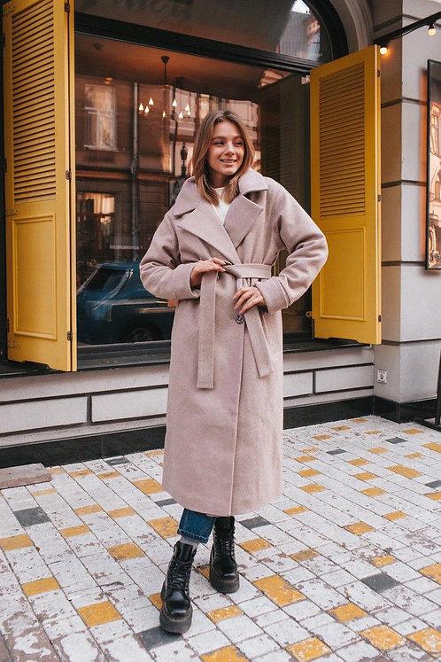 Шерстяное бежевое демисезонное пальто миди фото