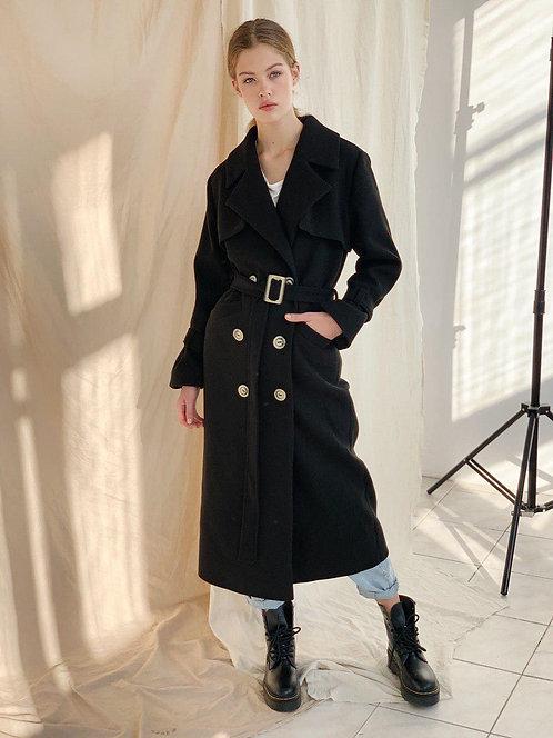 Черное длинное пальто-тренч из 100% шерсти фото