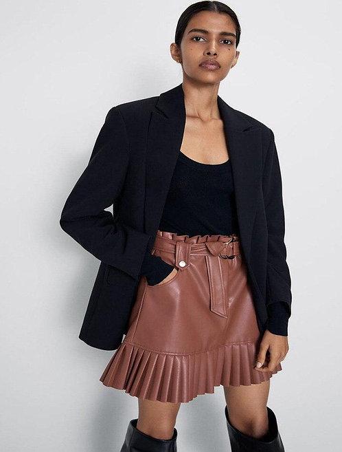 Кожаная юбка со складками реплика ZARA фото