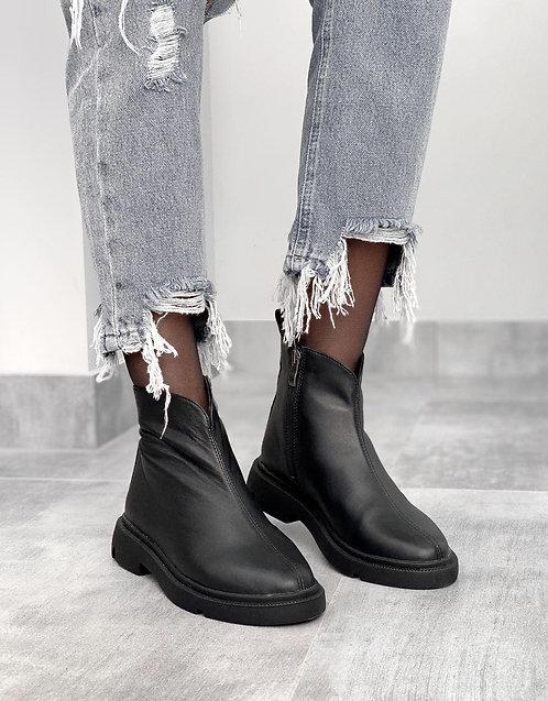 Черные низкие ботинки натуральная кожа фото