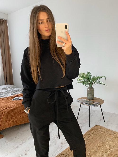 Теплый черный замшевый спортивный костюм фото